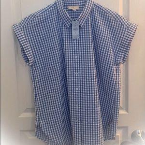 New Ann Taylor Loft Outlet Blue Gingham Shirt M